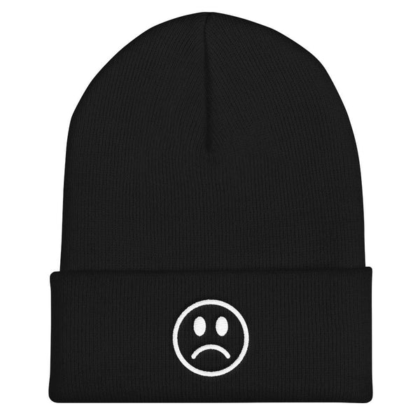 Sad Frowny Face Beanie - Black - Beanie