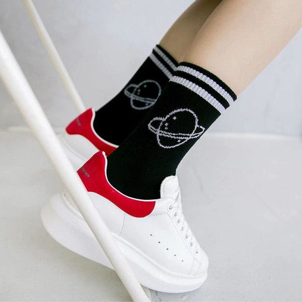 Saturn Planet Retro Striped Socks - Socks
