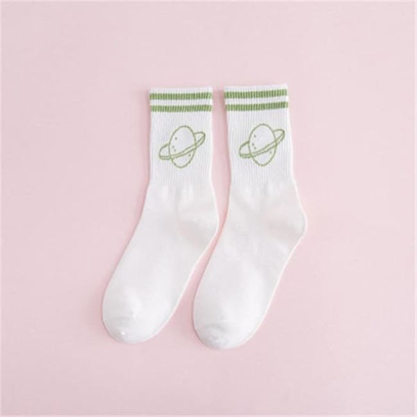 Saturn Planet Retro Striped Socks - White/green / M - Socks