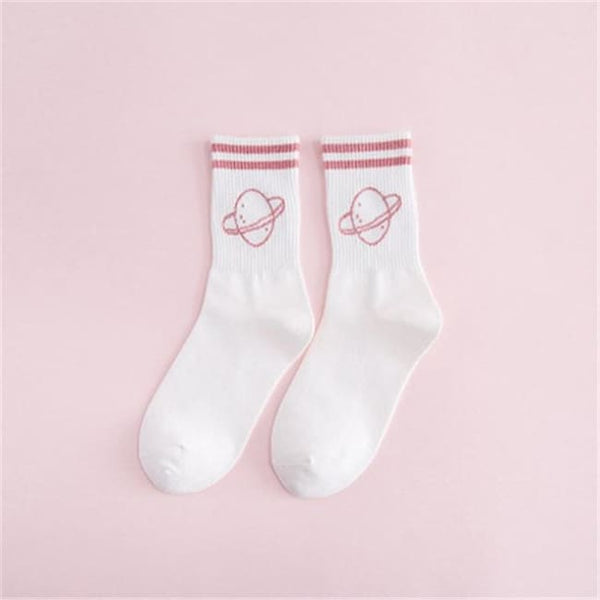 Saturn Planet Retro Striped Socks - White/pink / M - Socks