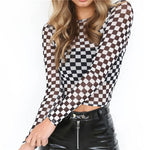 Sheer Checkered Long Sleeve Crop Top - Black / L - Long Sleeve Crop Top