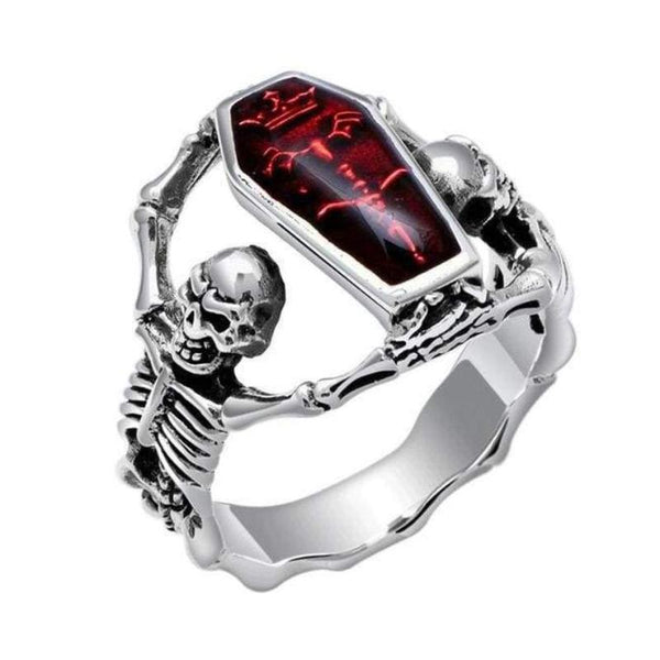 Skeleton Coffin Guards Red Stone And Stainless Steel Ring - Steel / 7 - Ring