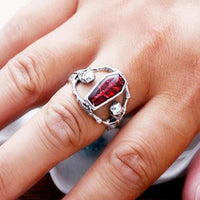 Skeleton Coffin Guards Red Stone And Stainless Steel Ring - Ring