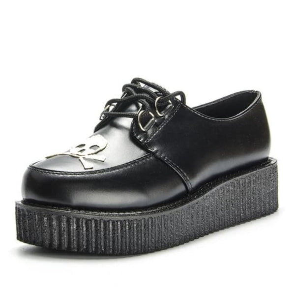 Skull And Crossbones Lace-Up Platform Creepers - Black / 5.5 - Creepers