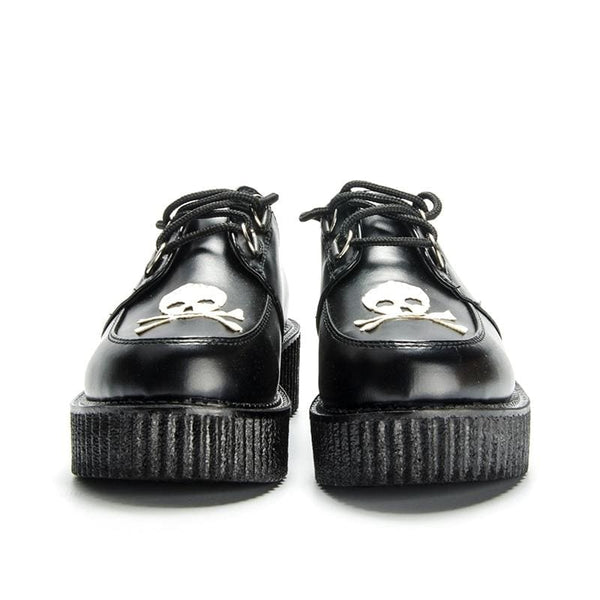 Skull And Crossbones Lace-Up Platform Creepers - Creepers