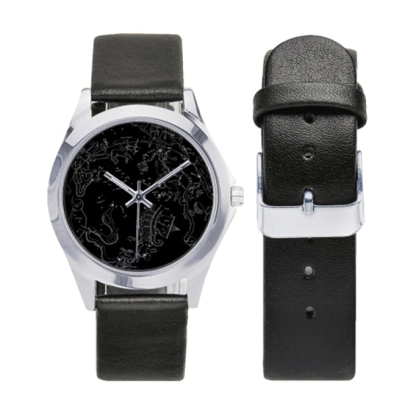 southern hemisphere constellation map black faux leather strap watch - Watch