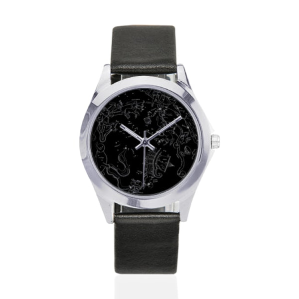 southern hemisphere constellation map black faux leather strap watch - Black - Watch