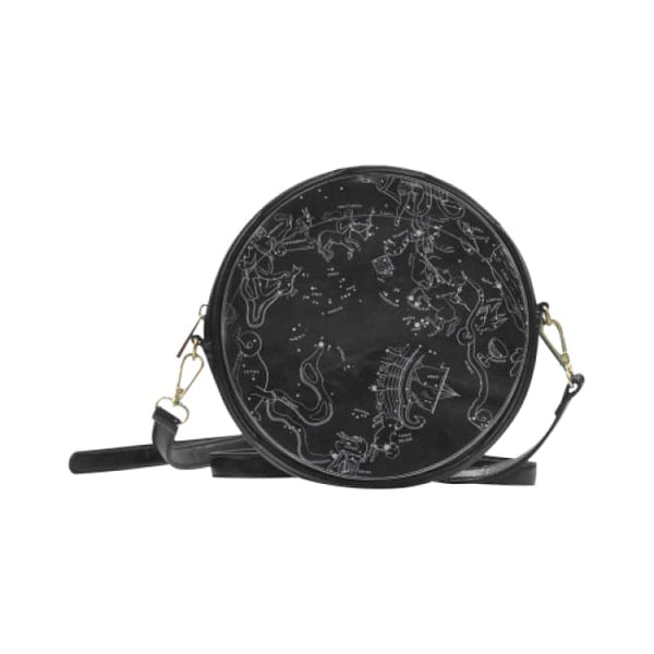 Southern Hemisphere Constellation Map Faux Leather Round Crossbody Bag - Black - Purse