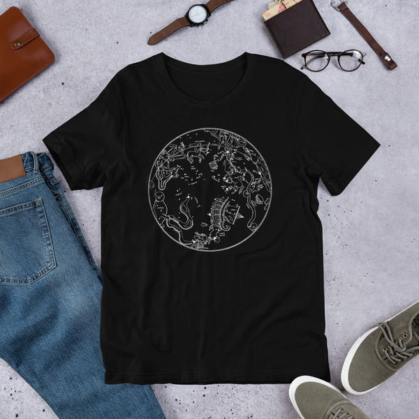 Southern Hemisphere Constellation Map Unisex Tee - Black / S - Unisex Tee