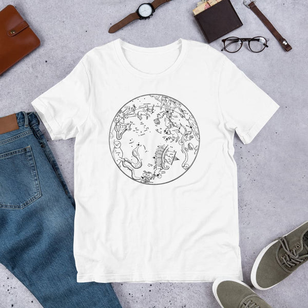 Southern Hemisphere Constellation Map Unisex Tee - White / S - Unisex Tee