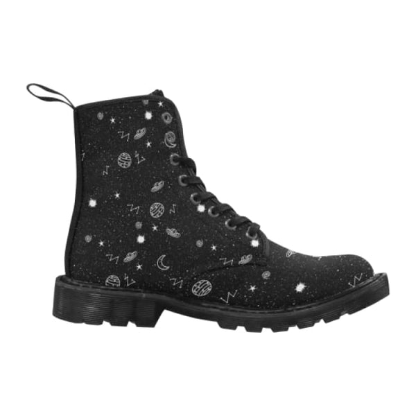 Space Doodles Womens Lace-Up Combat Boots - Black / 6.5 - Boots