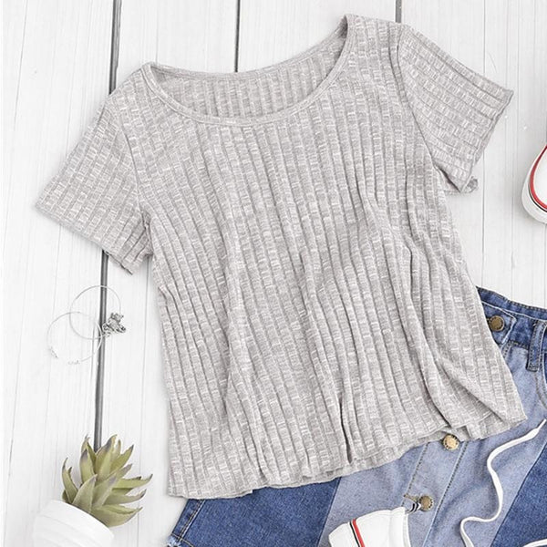 space dye ribbed knit flowy tee - Heather Gray / XS - Womens Tee