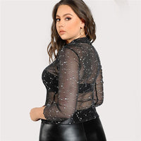 sparkly constellations sheer high neck long sleeve shirt - Long Sleeve Shirt