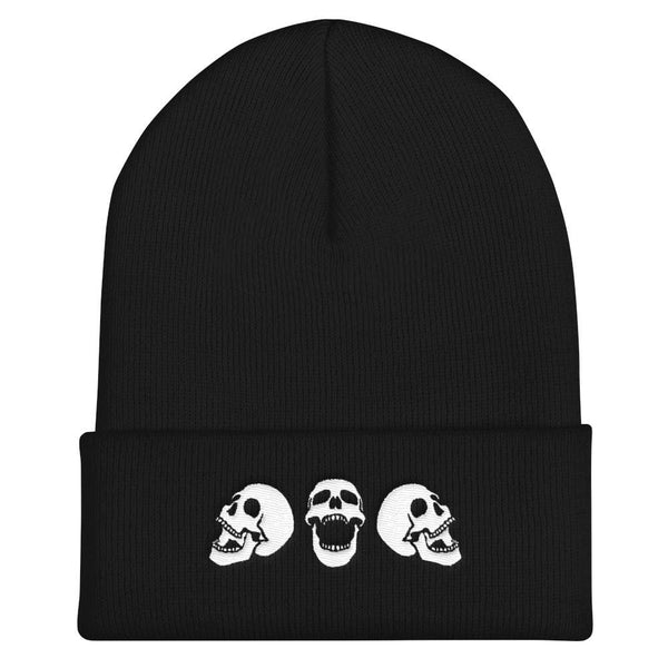 Spooky Skulls Cuffed Embroidered Beanie - Black - Beanie