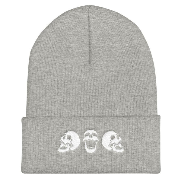 Spooky Skulls Cuffed Embroidered Beanie - Heather Grey - Beanie