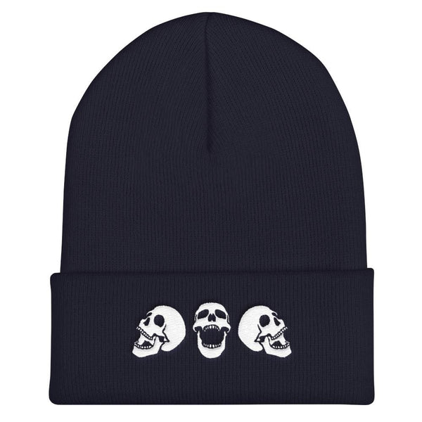 Spooky Skulls Cuffed Embroidered Beanie - Navy - Beanie
