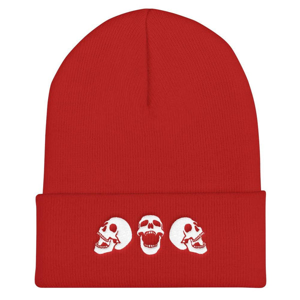 Spooky Skulls Cuffed Embroidered Beanie - Red - Beanie