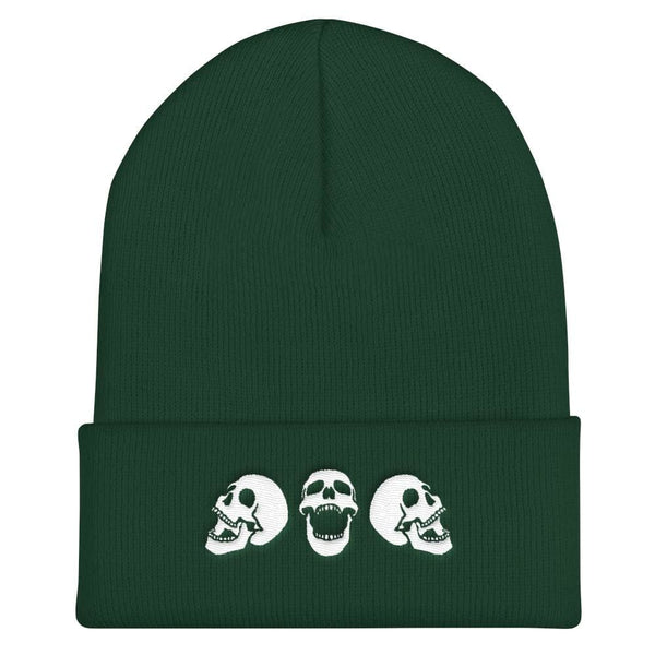 Spooky Skulls Cuffed Embroidered Beanie - Spruce - Beanie