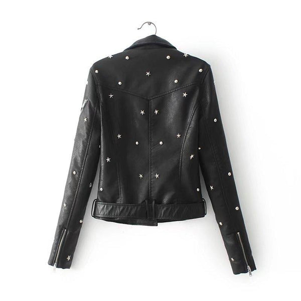 star studded faux leather moto jacket - Leather Jacket