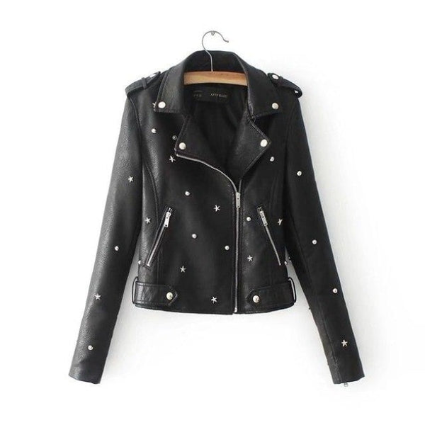 star studded faux leather moto jacket - Black / L - Leather Jacket
