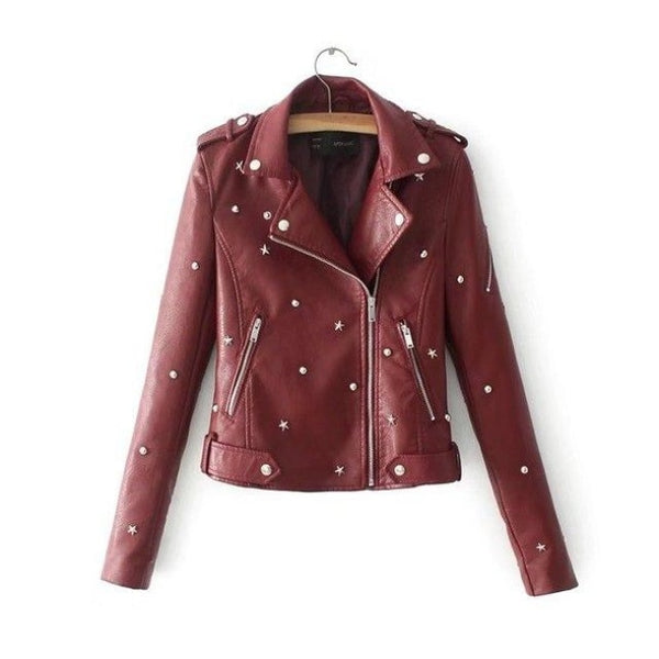 star studded faux leather moto jacket - Burgundy / L - Leather Jacket