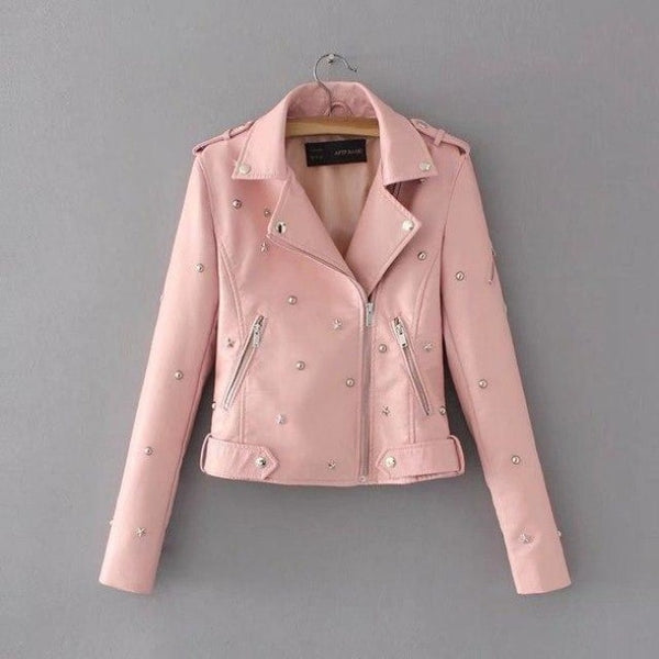 star studded faux leather moto jacket - Pink / L - Leather Jacket