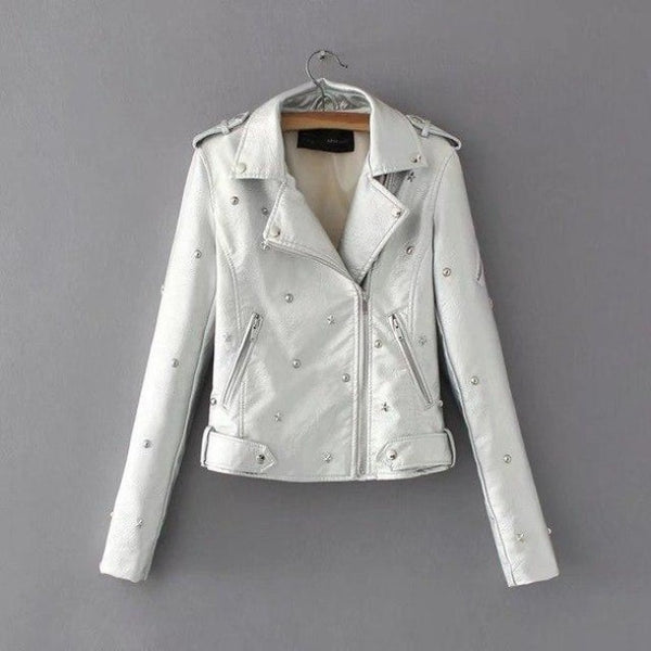 star studded faux leather moto jacket - White / L - Leather Jacket