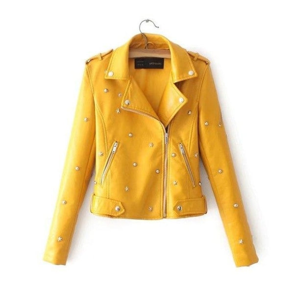 star studded faux leather moto jacket - Yellow / L - Leather Jacket