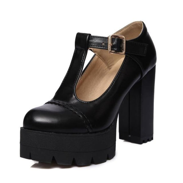 t-strap ultra platform stitched mary jane heels - Black / 10 - Heels