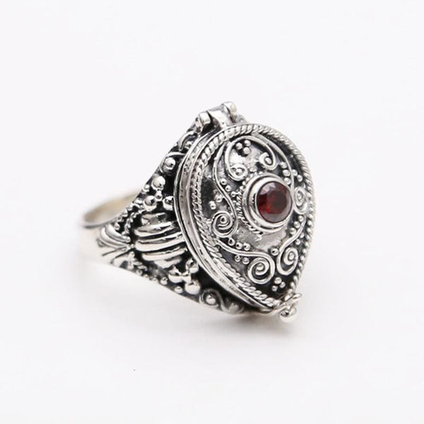 Teardrop Filigree Sterling Silver Poison Ring - 7.5 - Ring