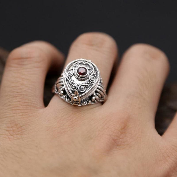 Teardrop Filigree Sterling Silver Poison Ring - Ring