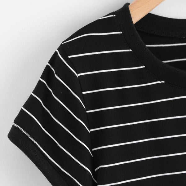 Thin Striped Crop Ringer Tee - Crop Top