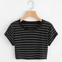 Thin Striped Crop Ringer Tee - S - Crop Top