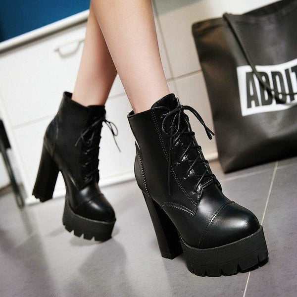 treaded ultra platform lace-up high heel boots - Boots
