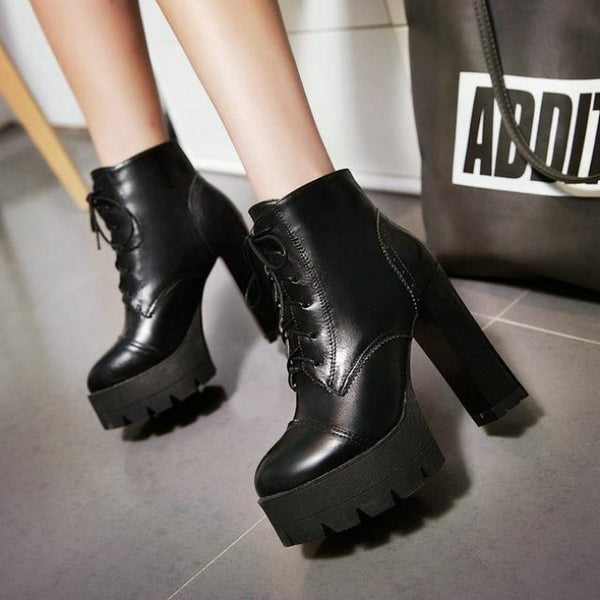 treaded ultra platform lace-up high heel boots - Black / 5 - Boots