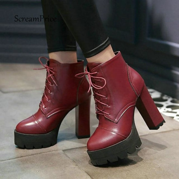 treaded ultra platform lace-up high heel boots - Red / 5 - Boots