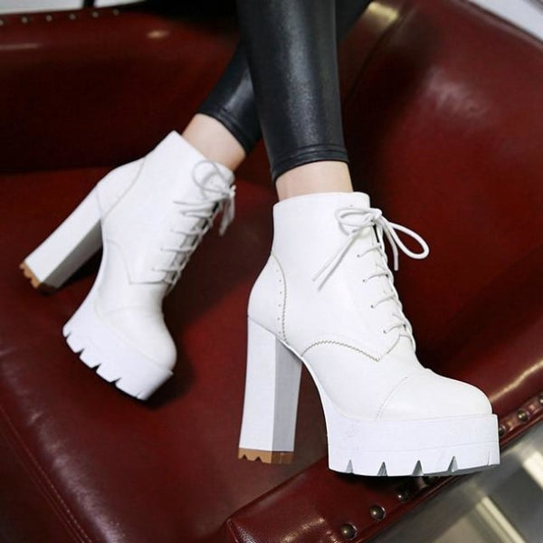 treaded ultra platform lace-up high heel boots - White / 5 - Boots