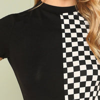 Two Faced Checkered Colorblock Tee - Womens Tee