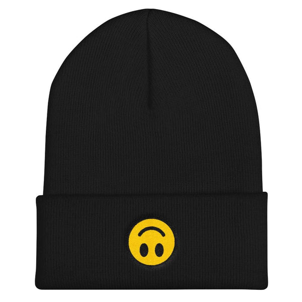 Upside Down Smiley Face Cuffed Embroidered Beanie - Black - Beanie
