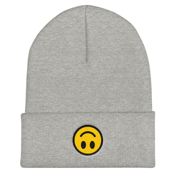 Upside Down Smiley Face Cuffed Embroidered Beanie - Heather Grey - Beanie