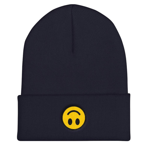 Upside Down Smiley Face Cuffed Embroidered Beanie - Navy - Beanie