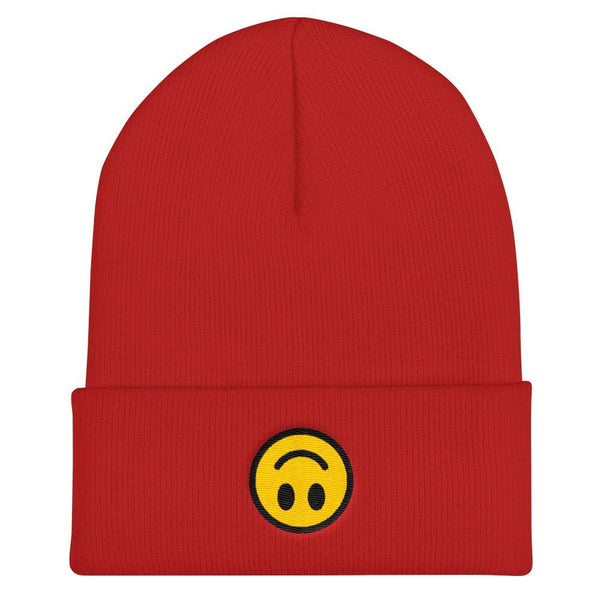 Upside Down Smiley Face Cuffed Embroidered Beanie - Red - Beanie