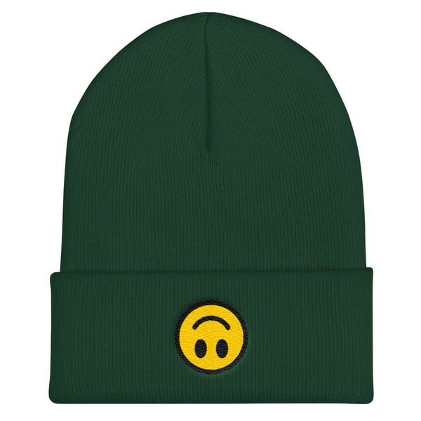 Upside Down Smiley Face Cuffed Embroidered Beanie - Spruce - Beanie