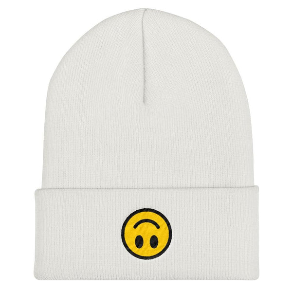 Upside Down Smiley Face Cuffed Embroidered Beanie - White - Beanie