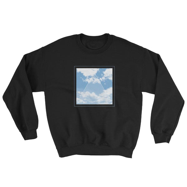 Vaporwave Aesthetic Glitch Clouds Unisex Sweatshirt - Black/blue / S - Sweatshirt