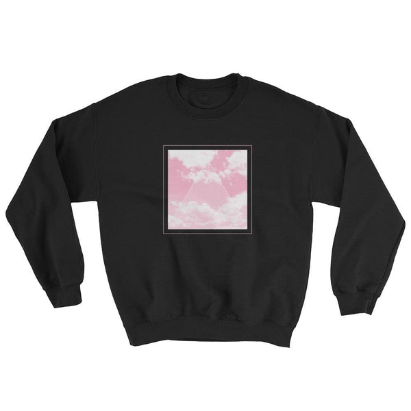Vaporwave Aesthetic Glitch Clouds Unisex Sweatshirt - Black/pink / S - Sweatshirt