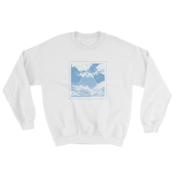 Vaporwave Aesthetic Glitch Clouds Unisex Sweatshirt - White/blue / S - Sweatshirt