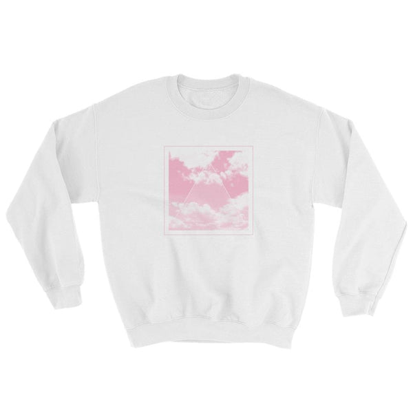 Vaporwave Aesthetic Glitch Clouds Unisex Sweatshirt - White/pink / S - Sweatshirt