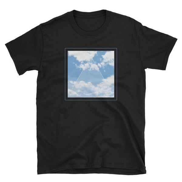 Vaporwave Aesthetic Glitch Clouds Unisex Tee - Black/blue / S - Unisex Tee