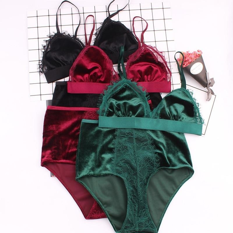acce4a2690eff velvet and lace bralette and underwear set